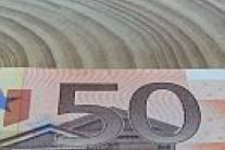 A banknote of 50 euros in the foreground and a wooden disc in the background.